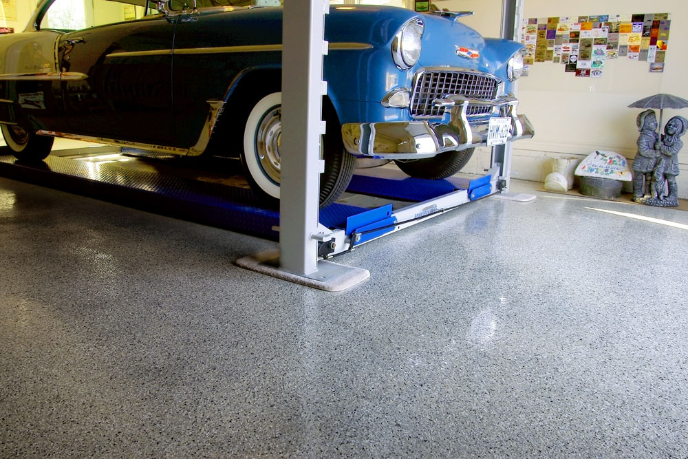 Tire resistant garage flooring