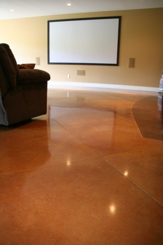 Home Theater Acid Stained Concrete floors