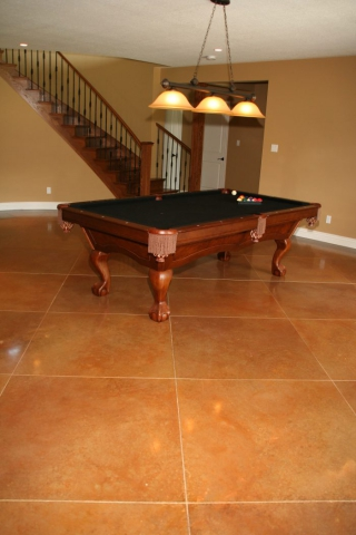 Games Room Tiled Acid Stained Concrete Flooring
