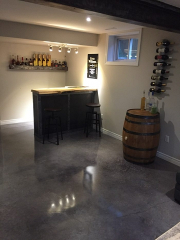 Residential Gray Acid Stained Concrete Floors