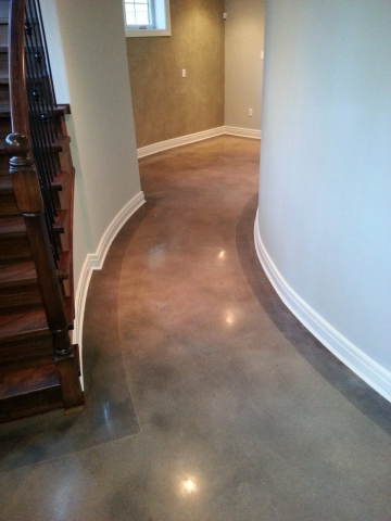 Home Acid Stained Concrete floors with a border