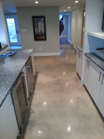 polished concrete flooring in a residential kitchen