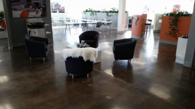 Office polished concrete flooring