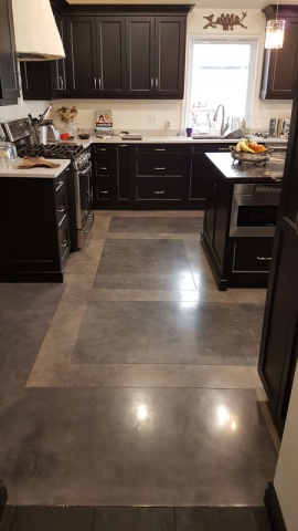Acid Stained Concrete in a kitchen
