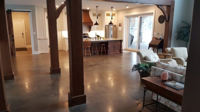Tiled Acid Stained Concrete Flooring