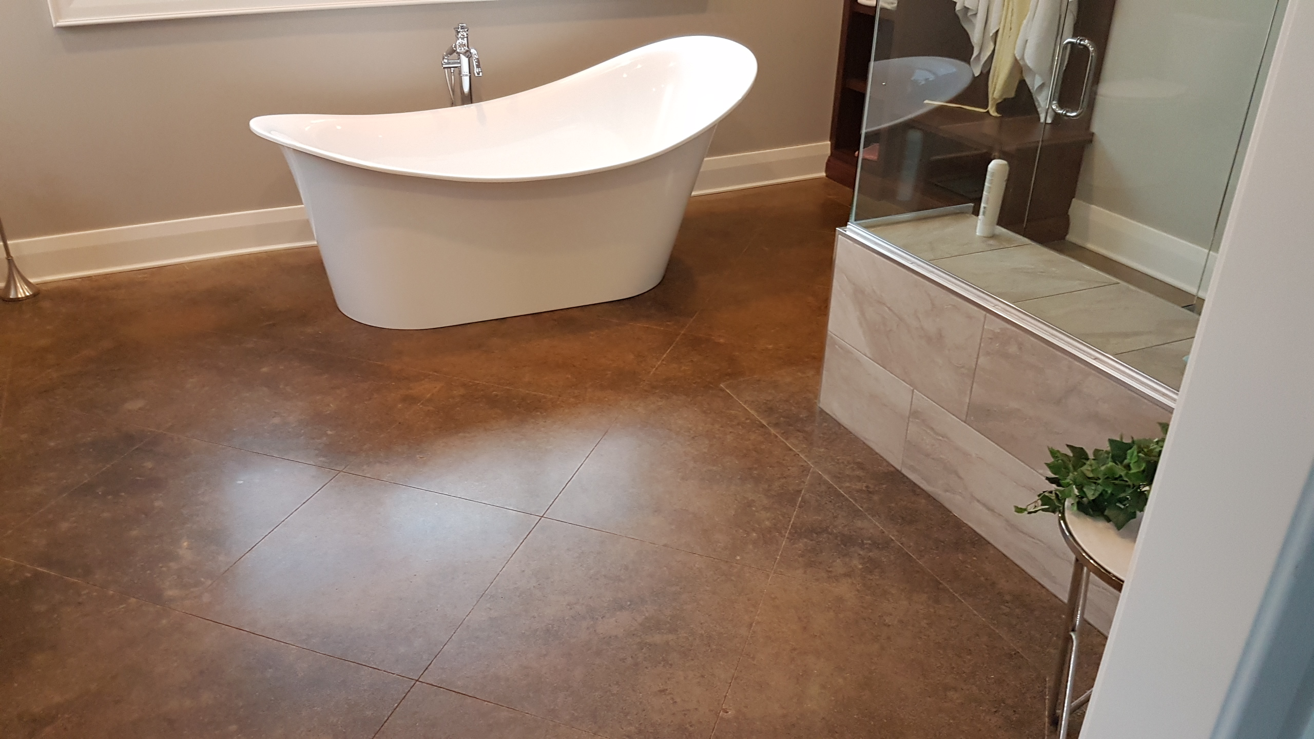 Acid Stained Concrete in a Bathroom