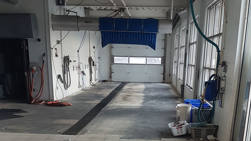 Car wash concrete flooring before