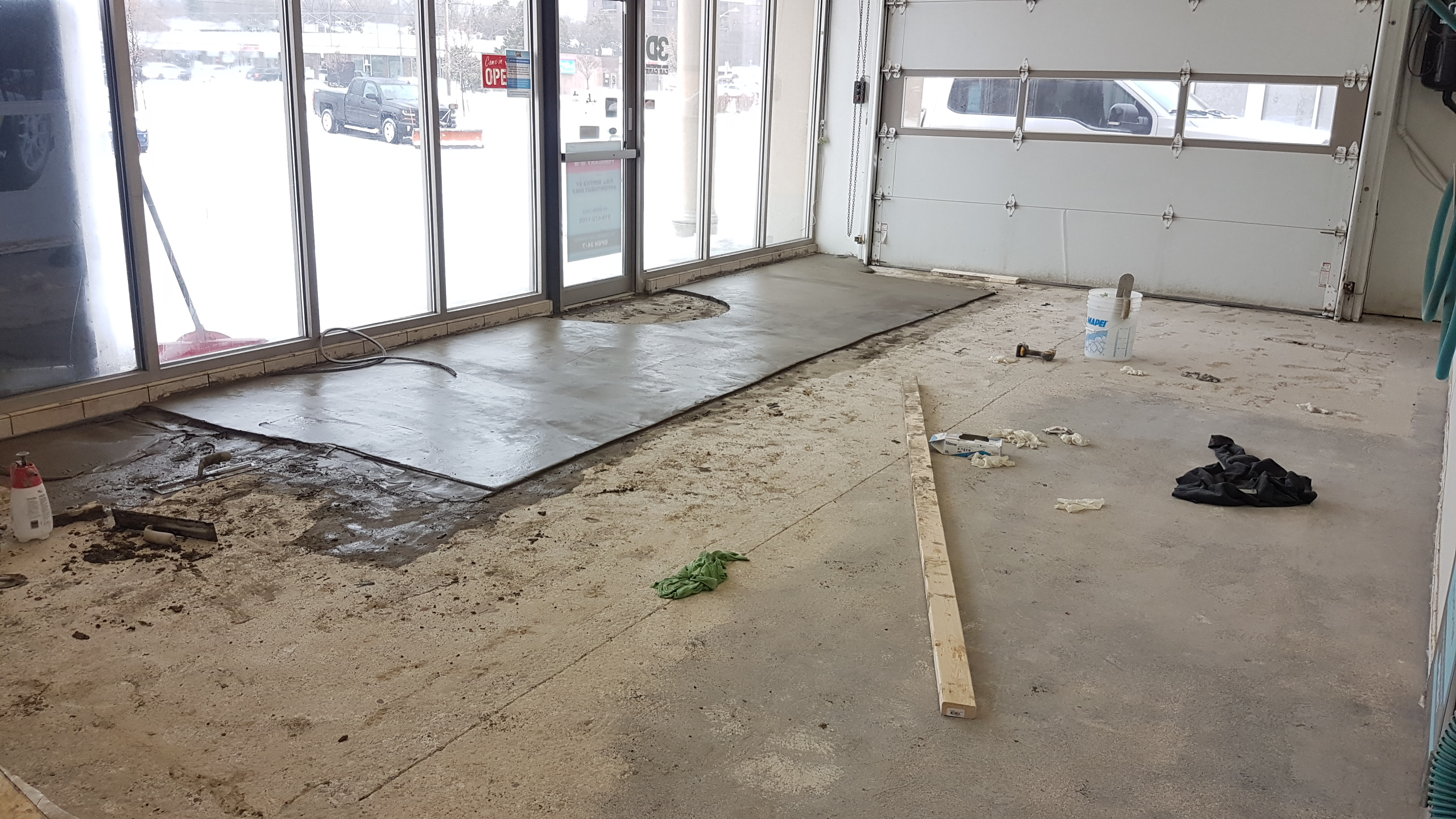 leveling and repairing car wash concrete floors