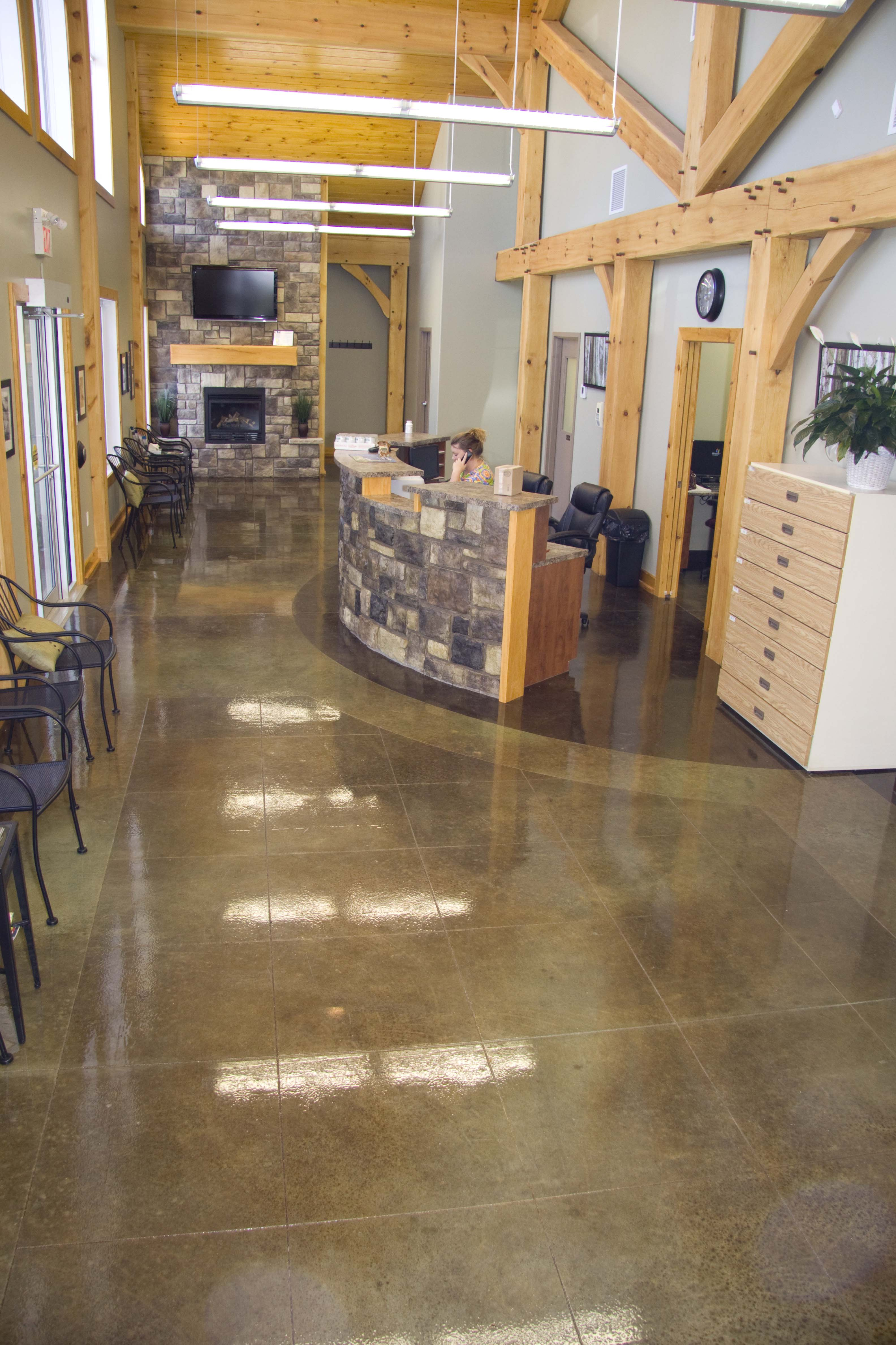 Commercial Acid Stain Decorative Tile cuts and border