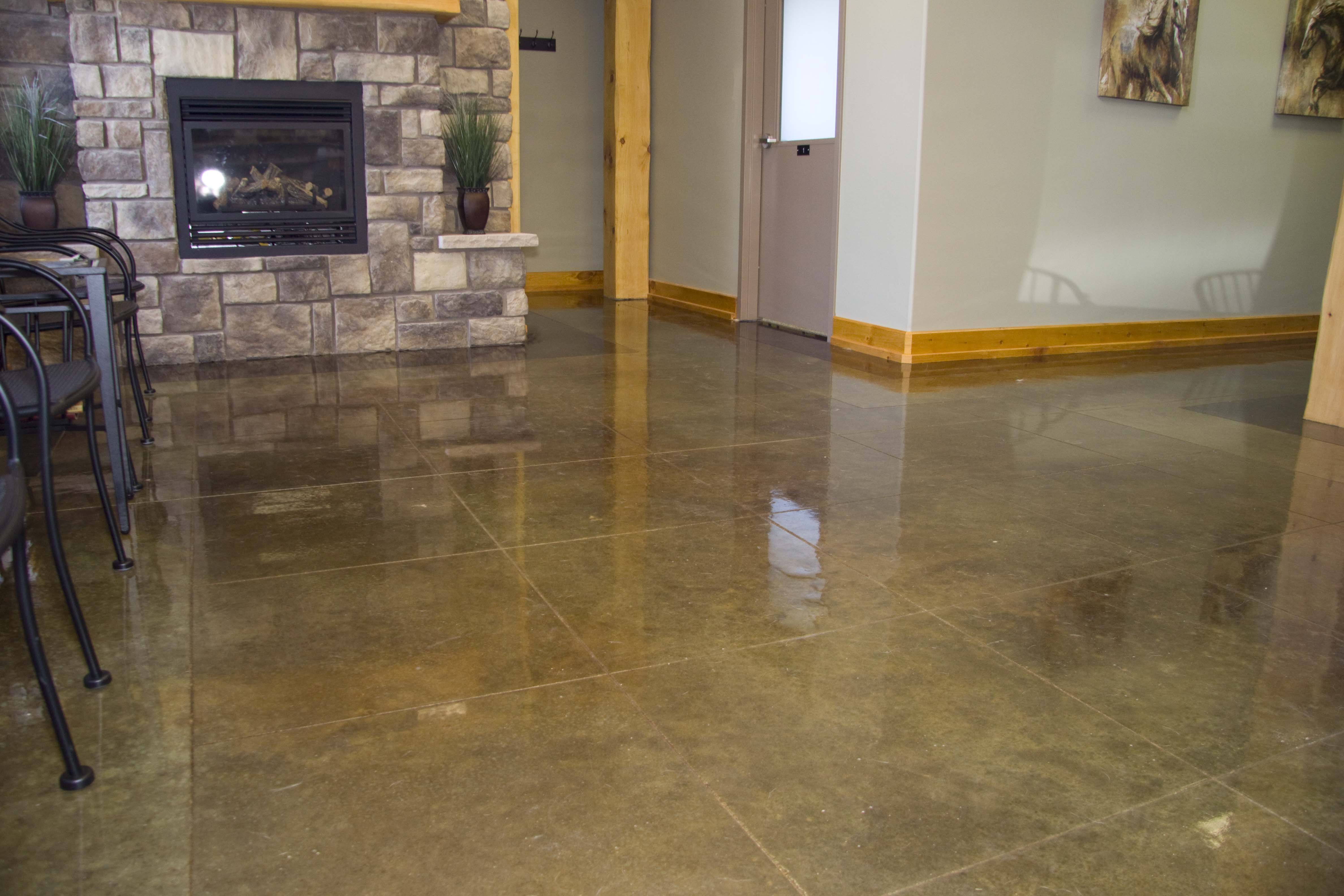 Tiled Acid Stained Concrete Floors