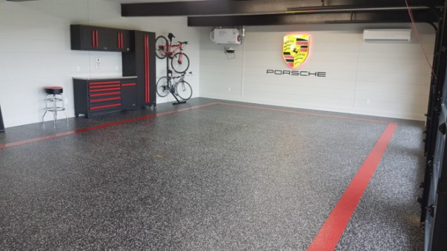 speckled garage coating flooring at porsche
